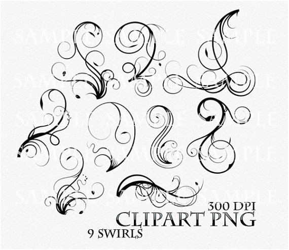 Swirl Clip Art Flourish Clip Art For Wedding Invitations, Digital  Scrapbook, Greeting Cards,