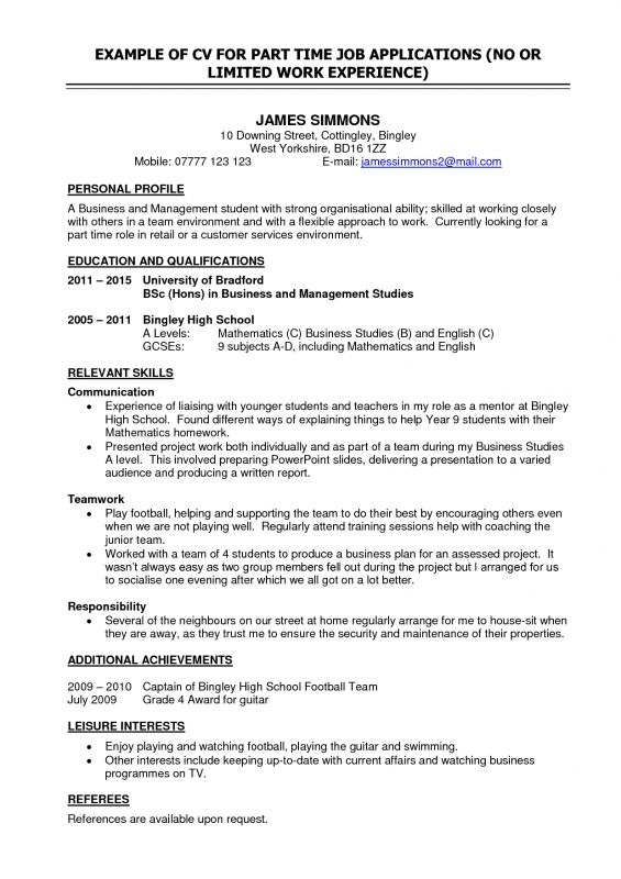 Resume For Part Time Job High School Student Sample Cazk Doc