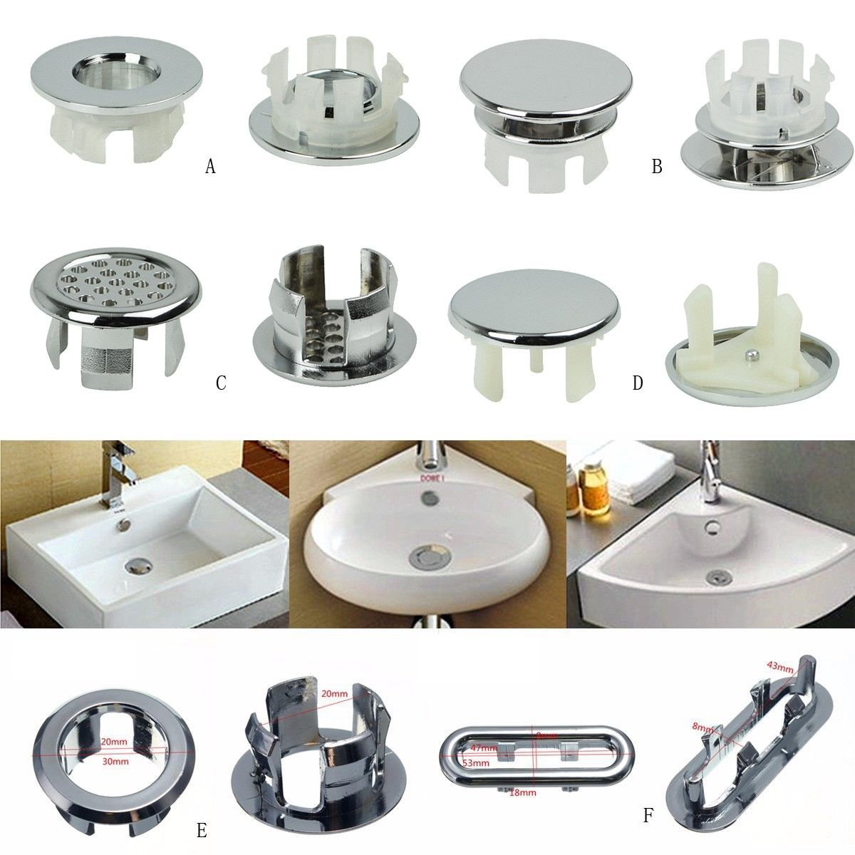 1pcs Sink Hole Round Overflow Cover Ceramic Pots Basin Sink