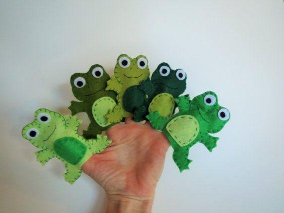 Frog puppet, frog toy, speckled frog, finger puppet, mom baby, baby frog, felt…
