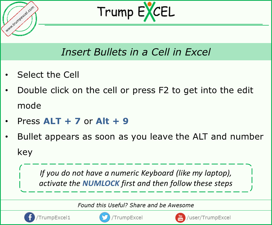 Insert Bullets In A Cell In Excel For More Excel Tips Visit Umpexcel