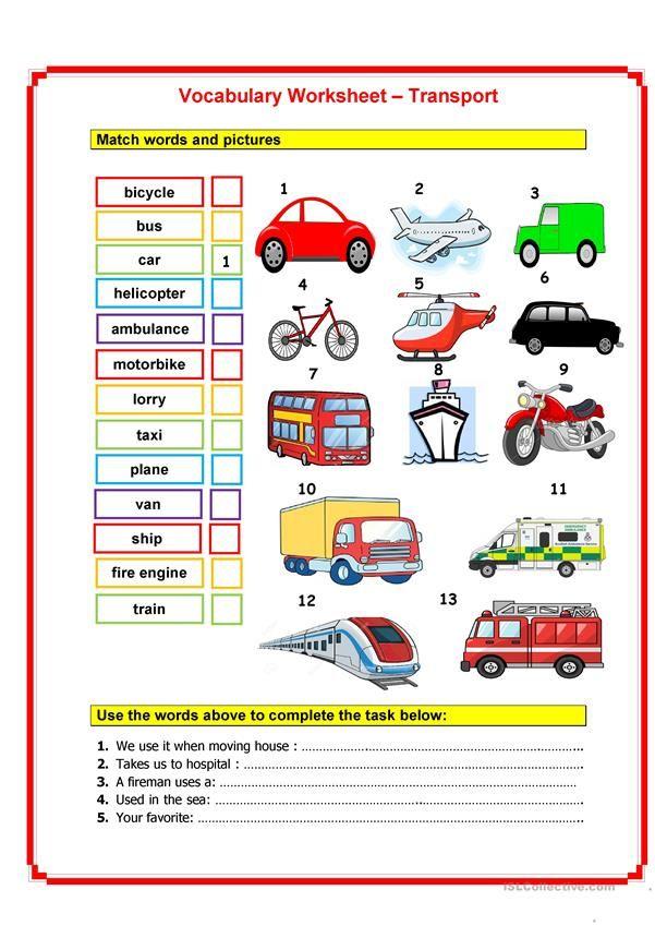 Means Of Transport Worksheets Transportation Vocabulary Worksheet Printable transportation worksheets for