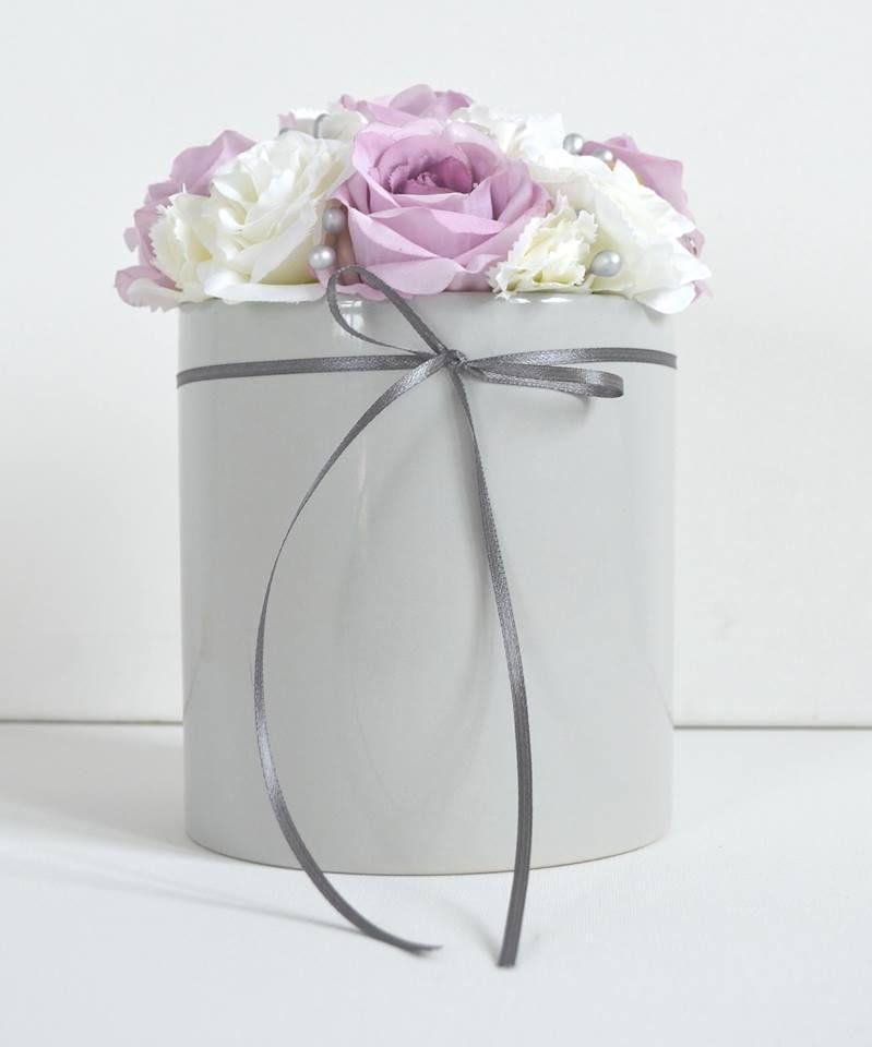 Flower Box Kwiaty Dekoracje Z Kwiatow Sztuczne Kwiaty Doniczka Roz Szarosc Bukiet Kompozycja Dekoracje Na Slub Chrzest Komunie Decor Home Decor