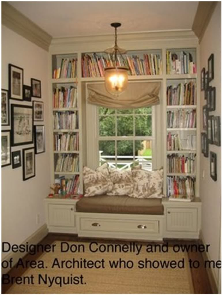 Window nook decorating ideas  bookshelves around window seat love it  house and home