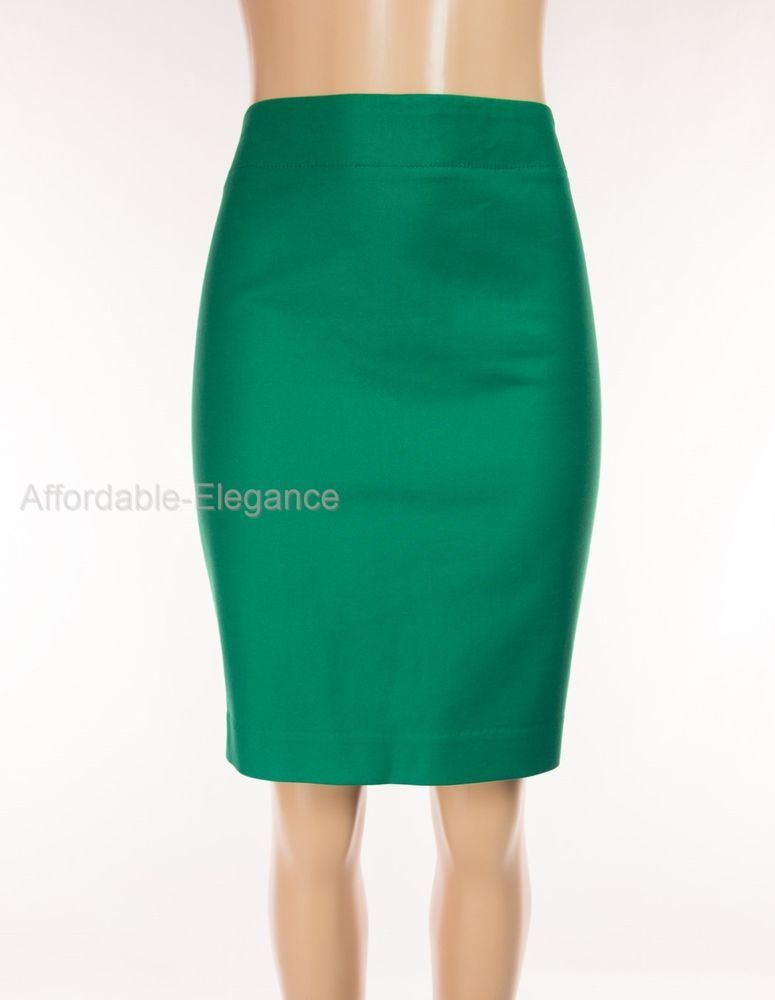 J CREW New No 2 Pencil Skirt 12 L Lrg Green Cotton Stretch Career Work NWT $134 #JCrew #StraightPencil