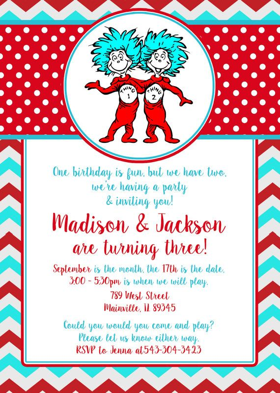 Dr Seuss Thing 1 2 Twins Birthday Party Invitation