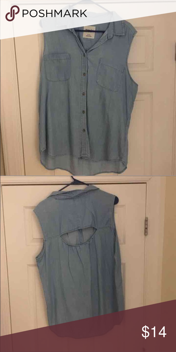 Denim Shirt with Open Back Like New - Denim Shirt with Open Back - American Eagle Size XL - HAPPY SHOPPING! American Eagle Outfitters Tops Button Down Shirts
