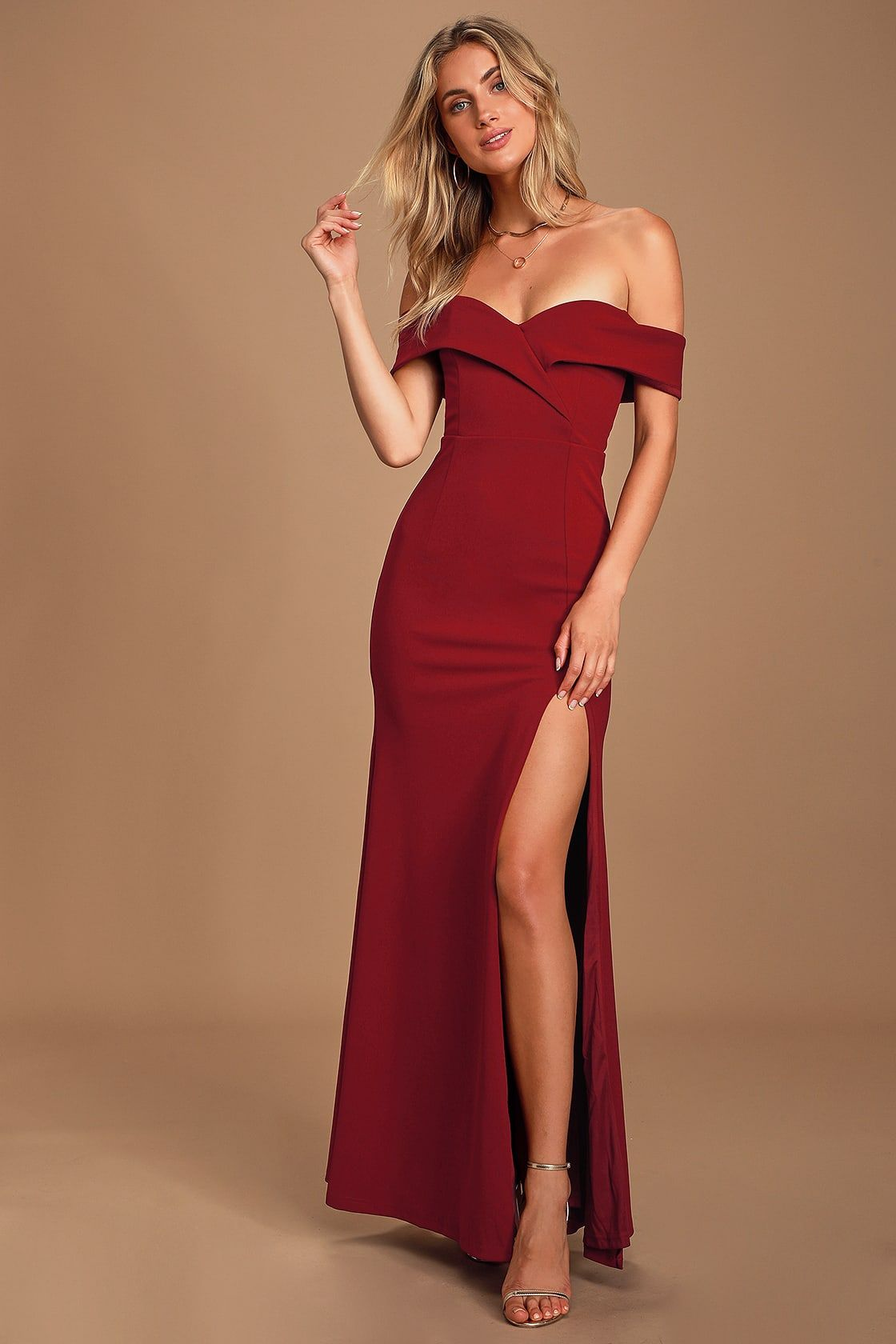 Song Of Love Wine Red Off The Shoulder Maxi Dress In 2020 Red Dress Maxi Maxi Dress With Sleeves Maxi Dress Party