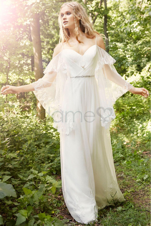 Rückenfrei Tüll 3/4-Ärmel Natürliche Taille Brautkleid | Vintage ...