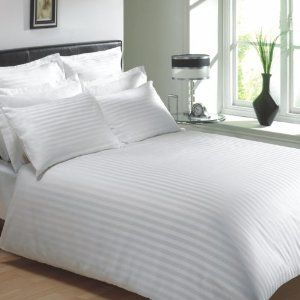VICEROY BEDDING 100% Egyptian Cotton, CLASSIC STRIPE Duvet Cover, White, Super King Bed Size, 400 Thread Count: Amazon.co.uk: Kitchen & Home