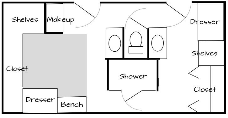 image of a floor plan for a his-and-hers master bathroom with walk on