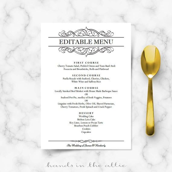 Elegant wedding menu template, editable wedding menu card, printable classy black and white dinner calligraphic design, DIGITAL download PDF #weddingmenutemplate