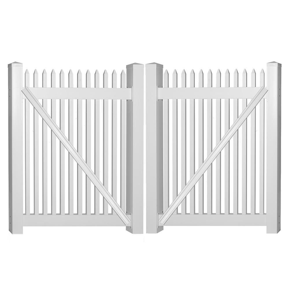 Weatherables Hartford 10 Ft W X 5 Ft H White Vinyl Picket Fence Double Gate Kit Includes Gate Hardware In 2020 Vinyl Picket Fence Picket Fence Gate Double Gate