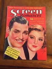 SCREEN ROMANCES MAGAZINE April 1936 CLARK GABLE AND MYRNA LOY  by EARL CHRISTY