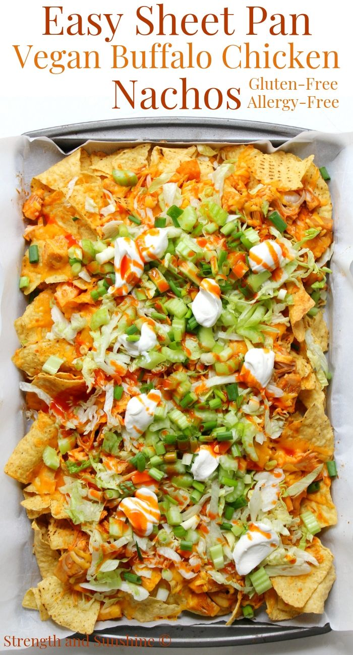 Easy Sheet Pan Vegan Buffalo Chicken Nachos (Gluten-Free, Allergy-Free) #buffalochickennachos