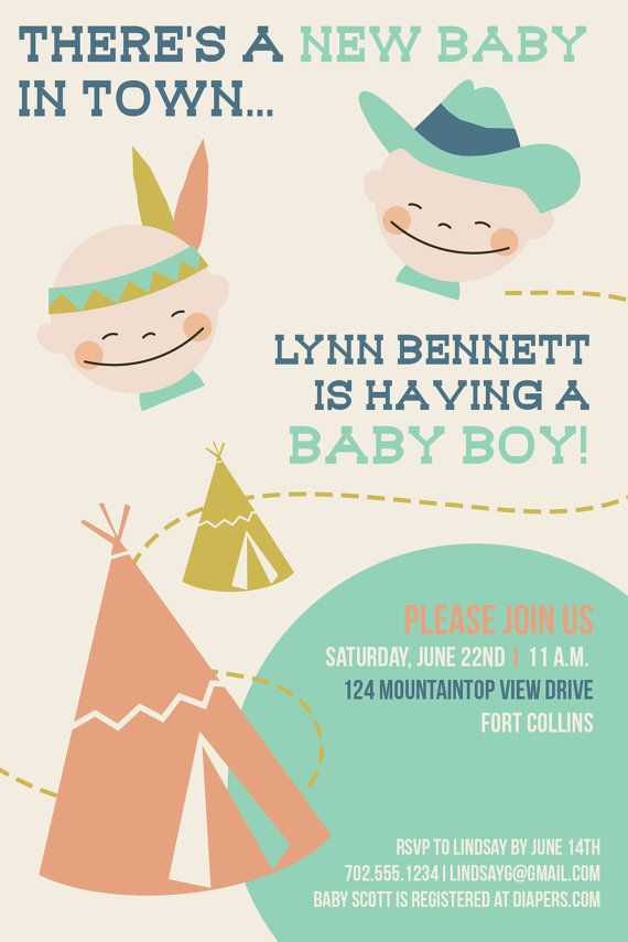 5X7Baby shower invitation features cowboys and indians theme ...