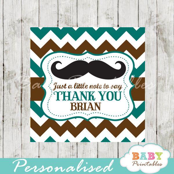 Blue Brown Mustache Baby Shower Square Labels   D115
