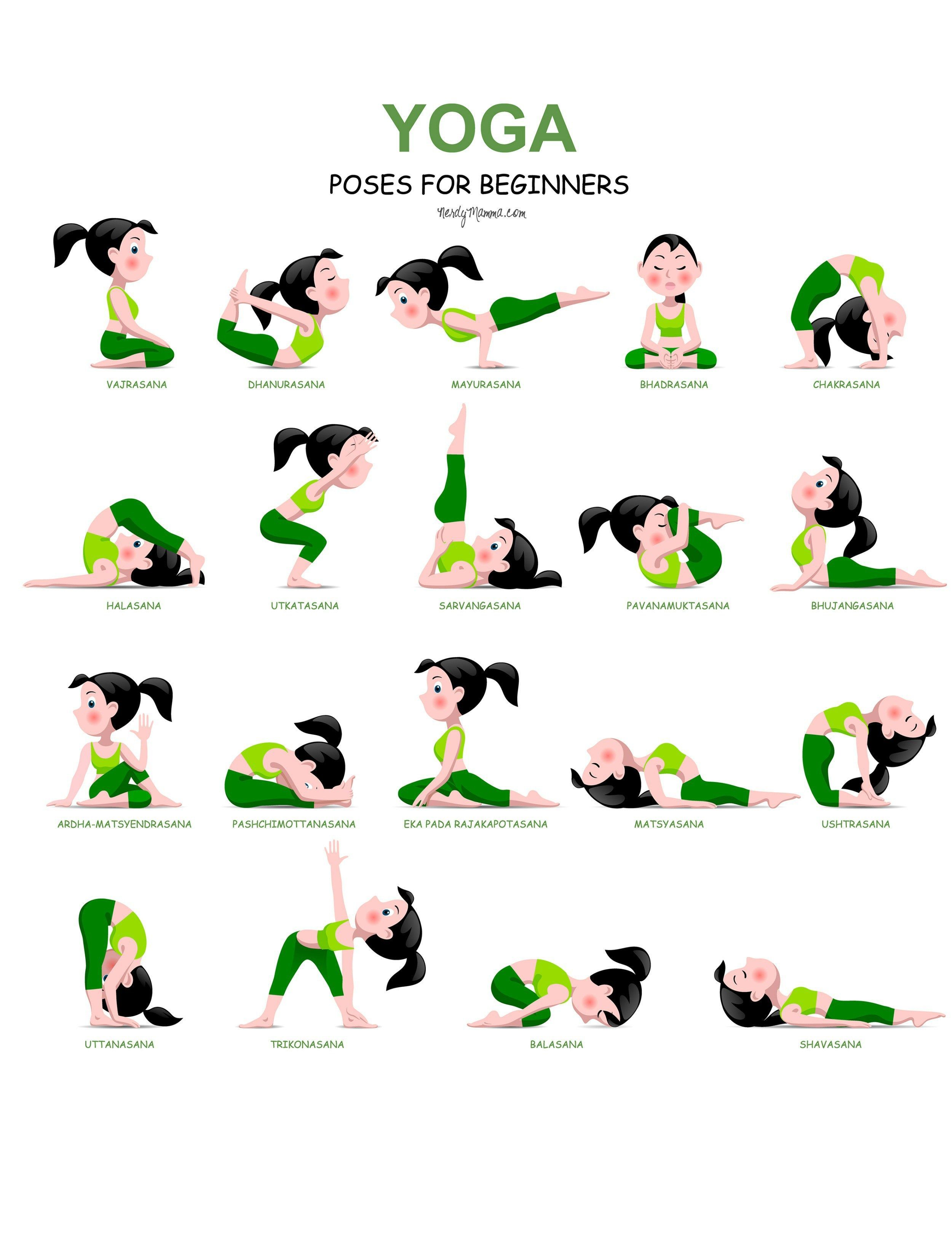 20 Easy Yoga Poses for Beginners with a Free Print