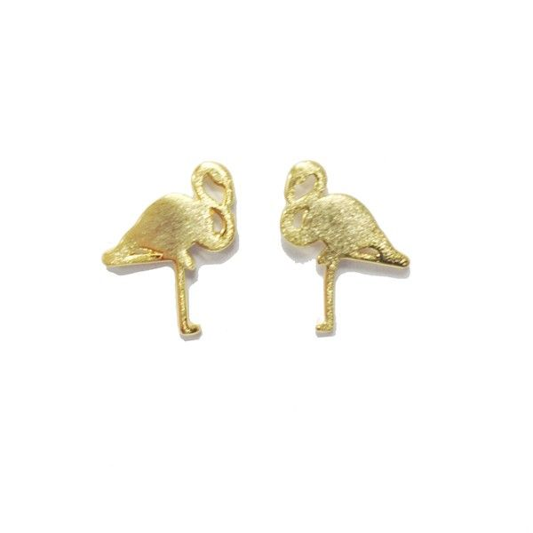 Flamingo Gold Stud Earrings by Pigeonhole. http://aslanandleo.com/product/flamingo-gold-stud-earrings-by-pigeonhole/