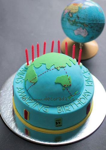 Amazing Race Birthday cake Globe cake Globe and Cake