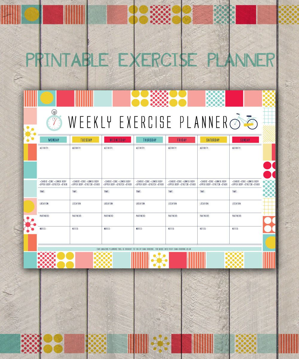 Weekly Exercise Planner Printable Fitness By SamOsborneStore