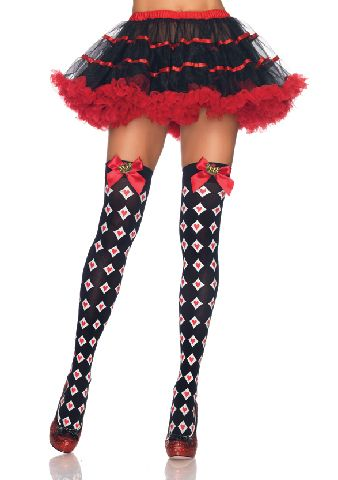 Royal Diamond and Heart Thigh Highs with Bow Crown Charm - Royal Diamond and Heart Thigh Highs with Bow Crown Charm by Leg Avenue.  O/S  Hand Wash Warm %0...