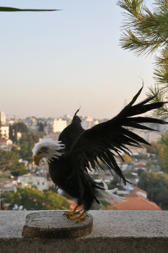 Nadel Felted Vogel. Weißkopfseeadler. von darialvovsky auf Etsy