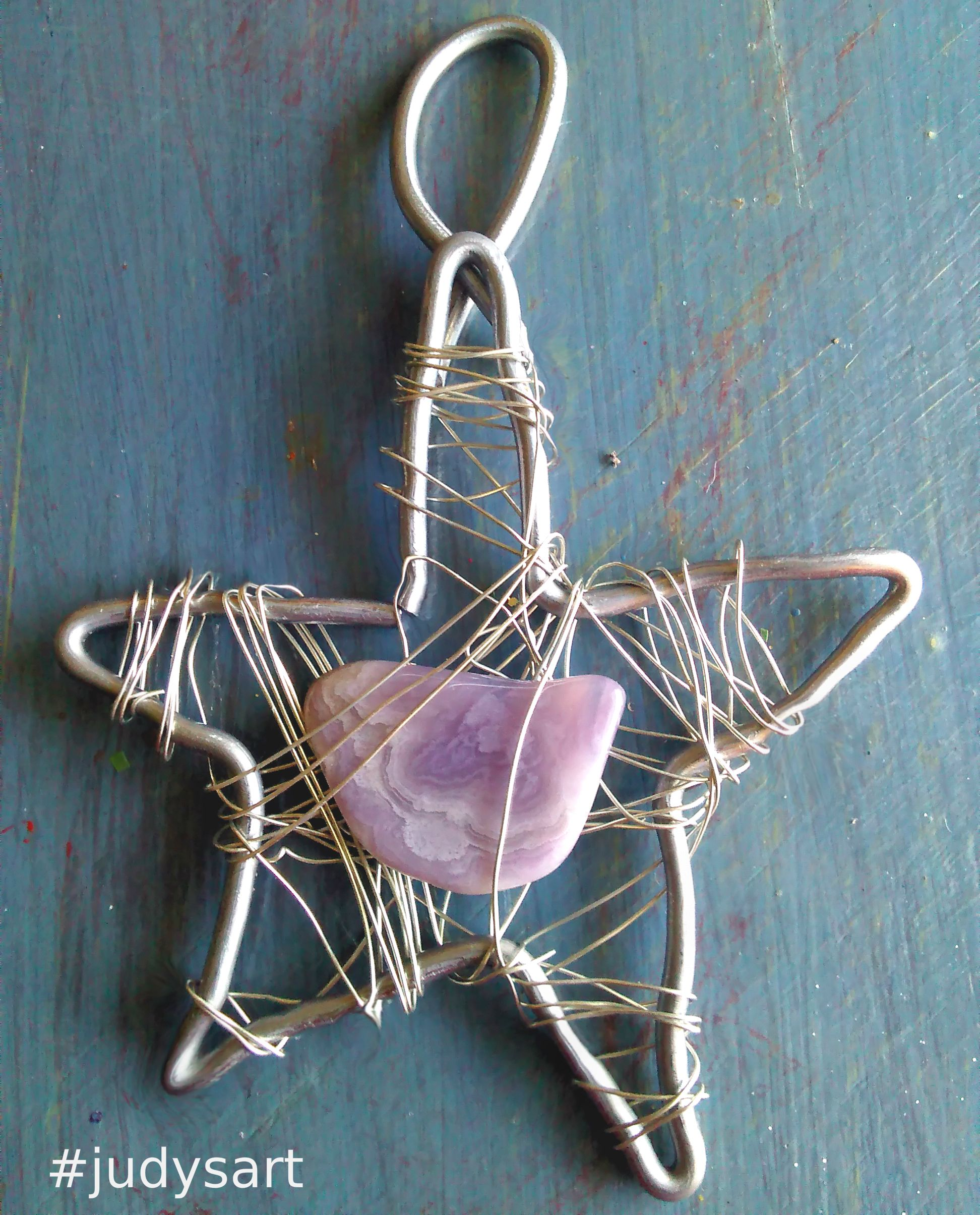 Natural polished rock wire wrapped star Christmas Ornament. Easy to ...