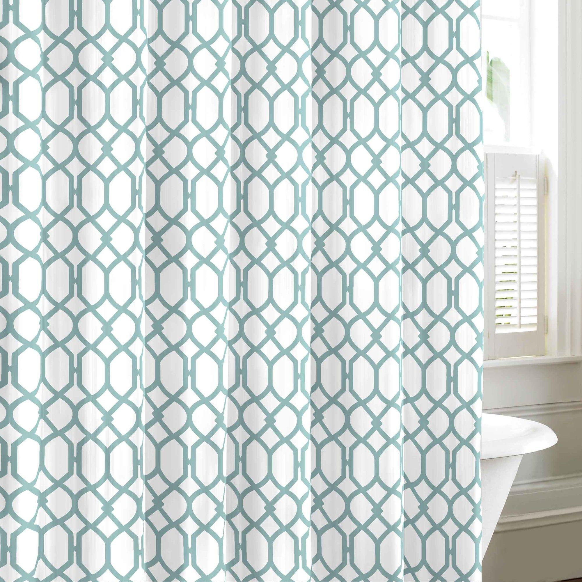 Shoreline Trellis Cotton Single Shower Curtain Fabric Shower