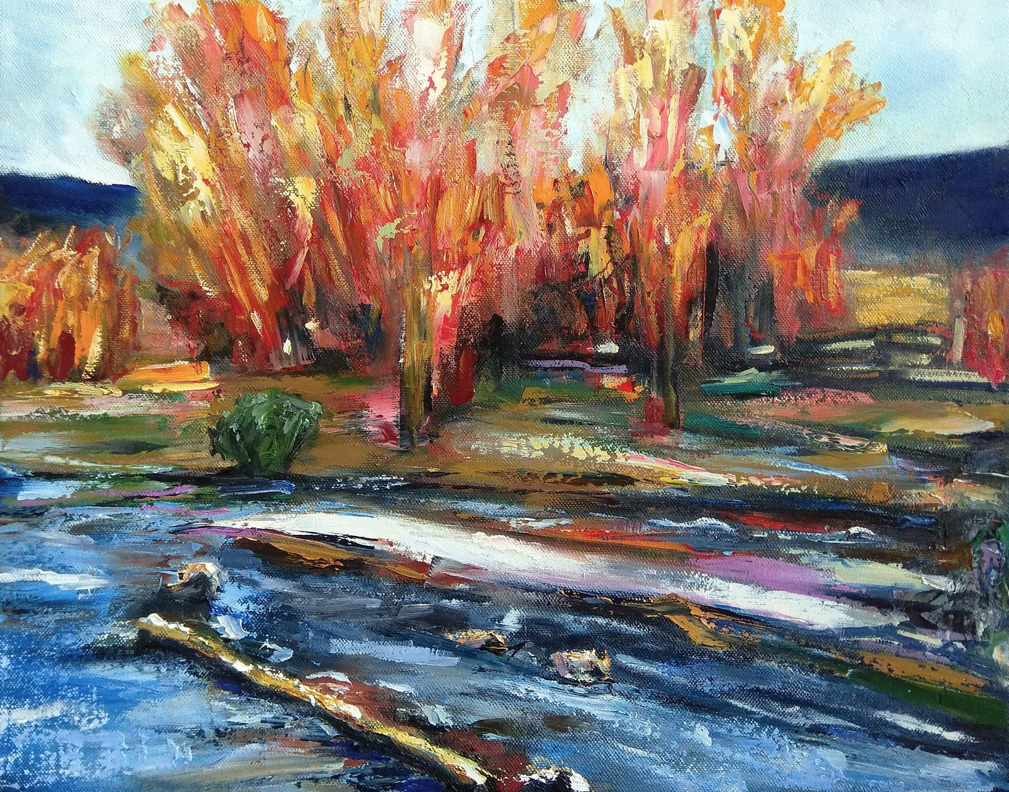 Abstract fall landscape painting on canvas Red trees and water stream River artwork Trees picture wall decor Modern autumn scenery painting #autumnscenery