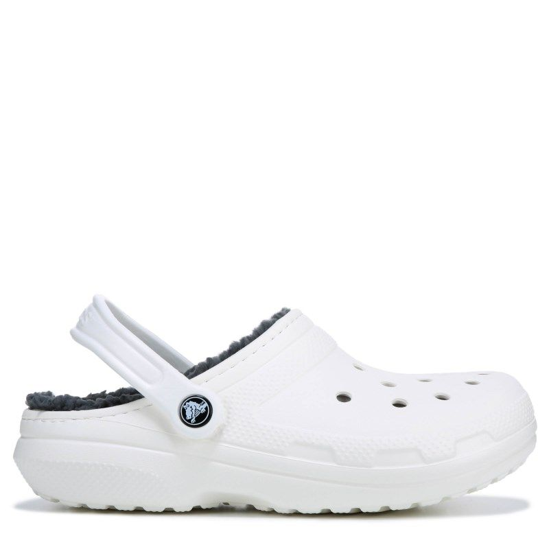 6e5268fcd Crocs Women s Classic Fuzz Lined Clog Shoes (White Grey)