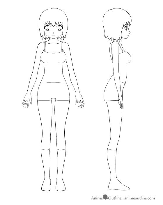 Anime girl clothes example of how to draw anime girl with clothing