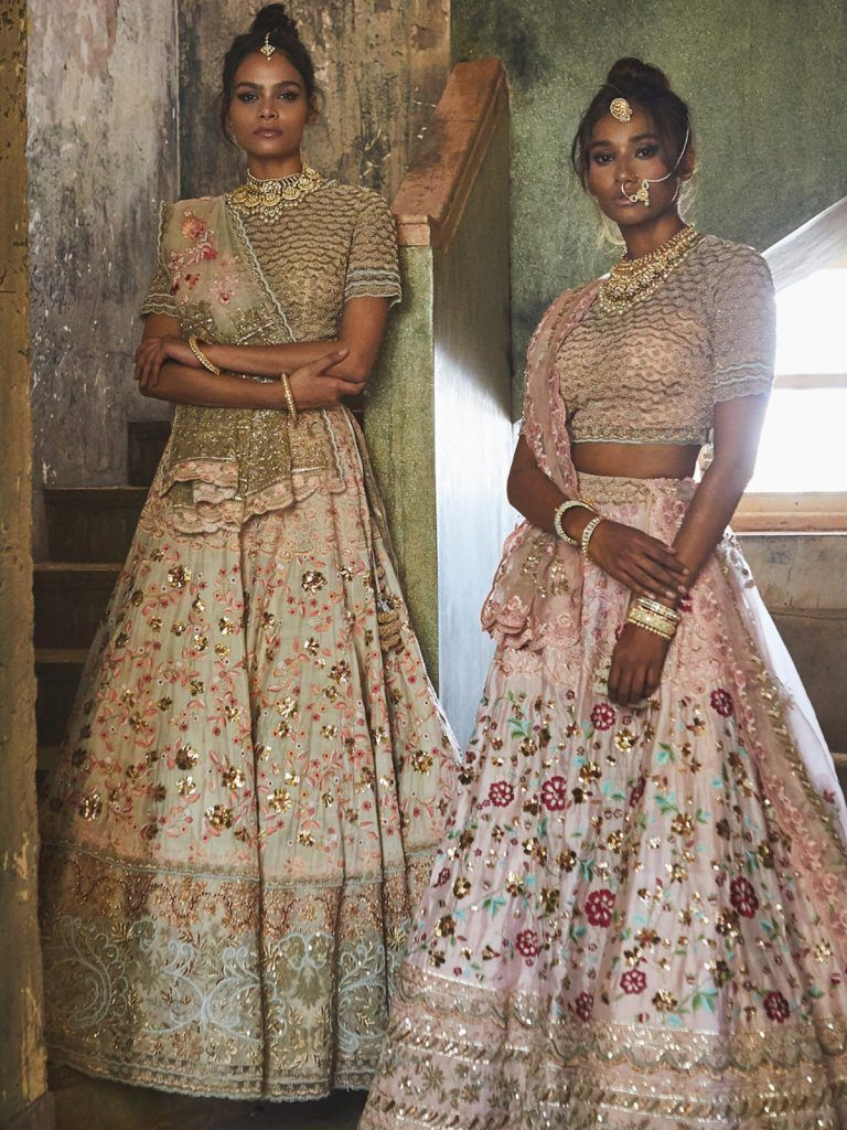 ac8e62495cf Mumbai Lehenga Shopping Guide. Floral pink and gold lehengas by Jade. Click  on image to see price.  frugal2fab