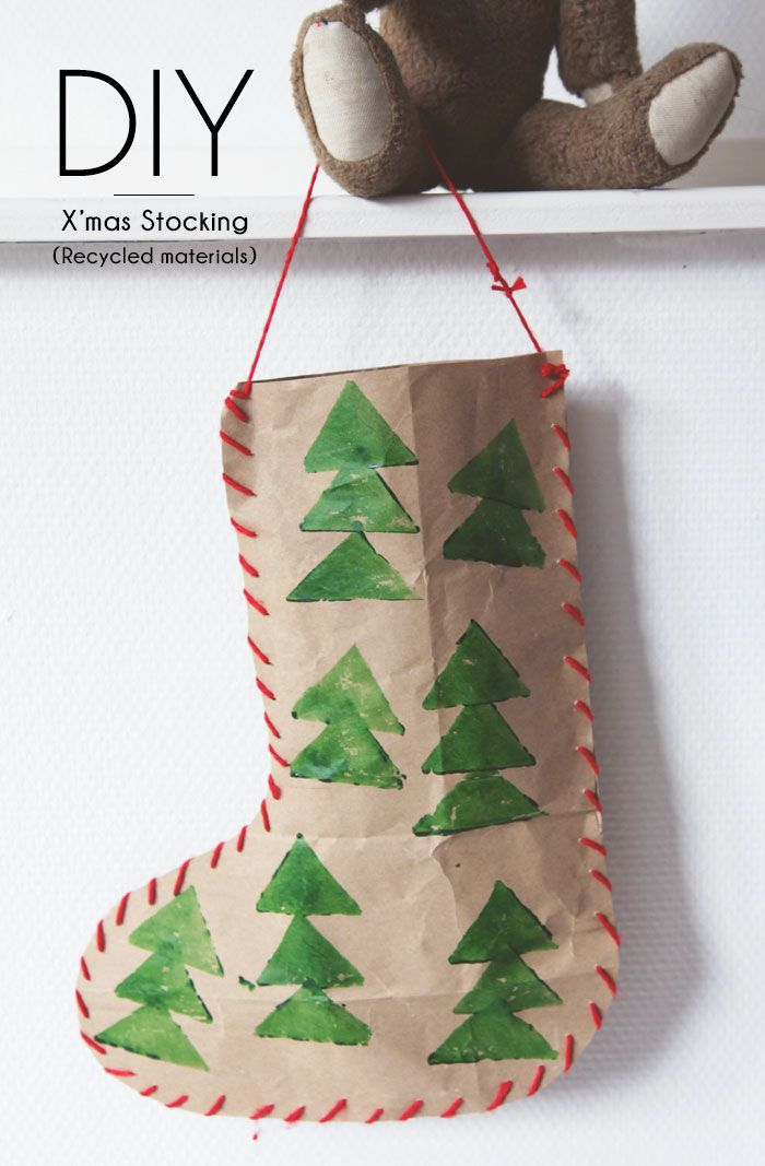 Bloesem giving christmas craft diy christmas stocking for Christmas crafts from recycled materials