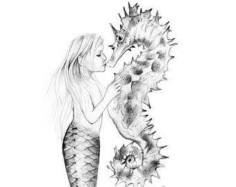 8x10 Pouces Print Tranquil Mermaid Art Unframed Graphite