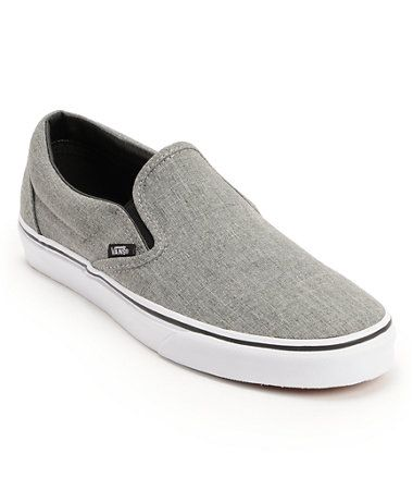 50% price cheapest sale new release Vans Classic Grey & White Slip On Skate Shoes | Christmas ...
