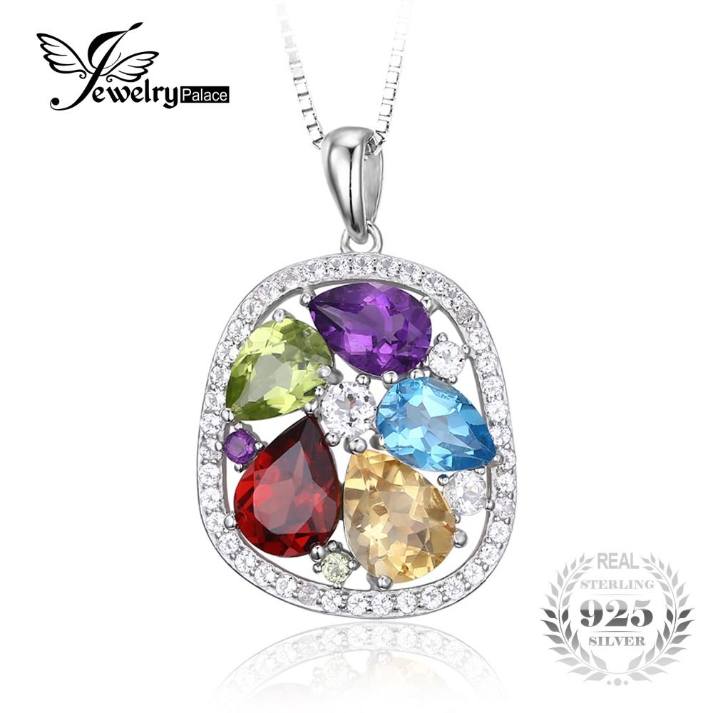 Jewelrypalace Luxury Pear Cut Created Gemstone Solid 925 Sterling Silver Pendant Necklace 18 inches mxHQ22Y1R