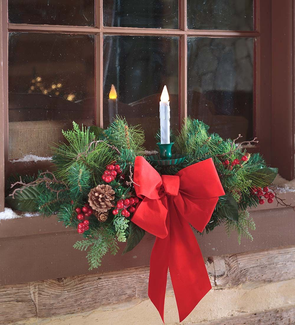 Holiday Window Swag With Candle Outdoor Decorations