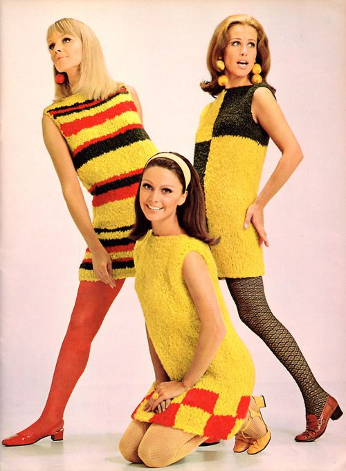 7c29e6a47cf64 Mod fashion of the 60s -- geometric lines and colored tights were  characteristic of this style