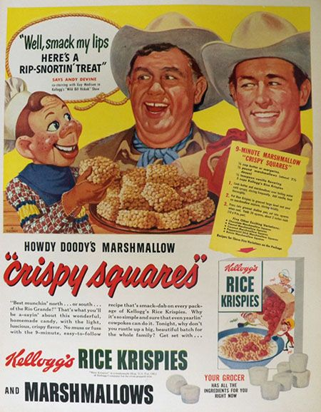 1952 Kellogg's Rice Krispies Ad ~ Andy Devine, Howdy Doody
