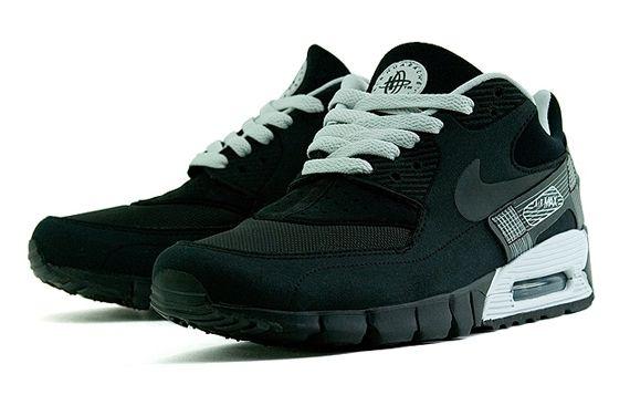 Nike Air Max 90 Current Huarache Black Grey   Nike air