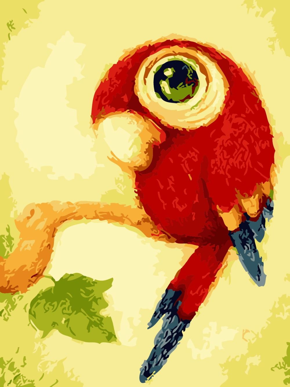 Cartoon Owl Bird Canvas Picture Diy Coloring Paint by Numbers ...
