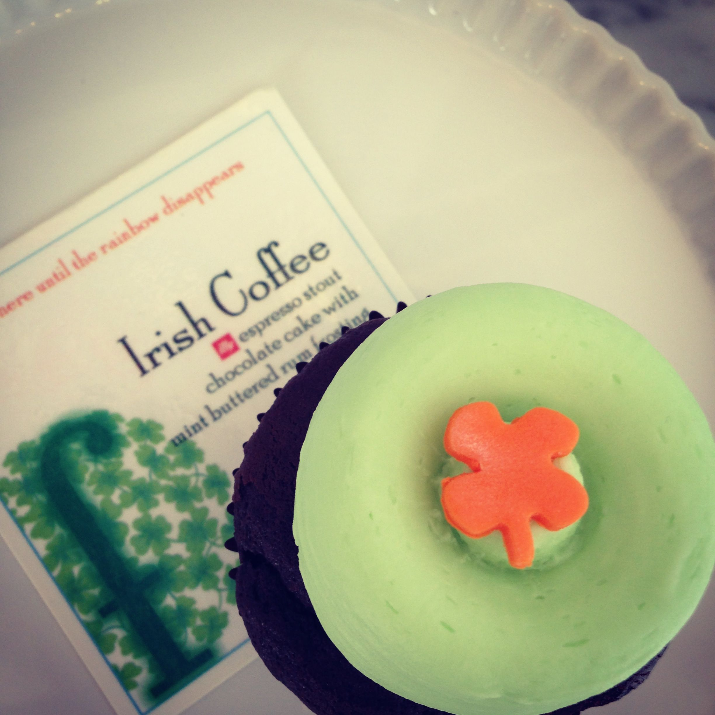 """Kiss me I'm Irish"" cupcakes are on the bar all month March!"