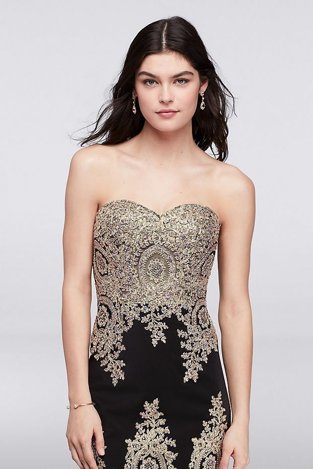 Embroidered Black and Gold Mermaid Prom Dress with Tiered Skirt ...