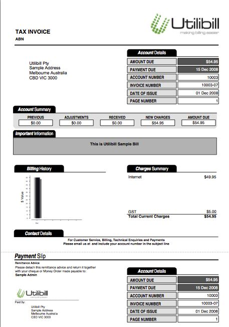 Utility Bill Image Of Utilities Bill From Utilibill In Format Bill Template Utility Bill Invoice Template