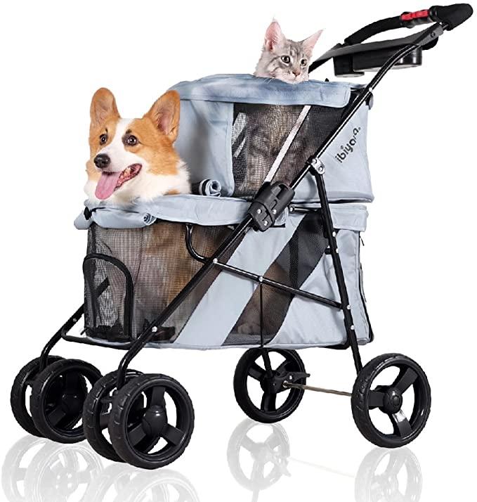 ibiyaya 4 Wheel Double Pet Stroller for Dogs