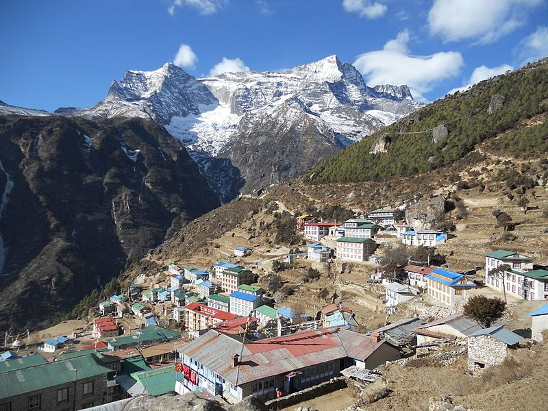 Namche bazaar in lap of mountain