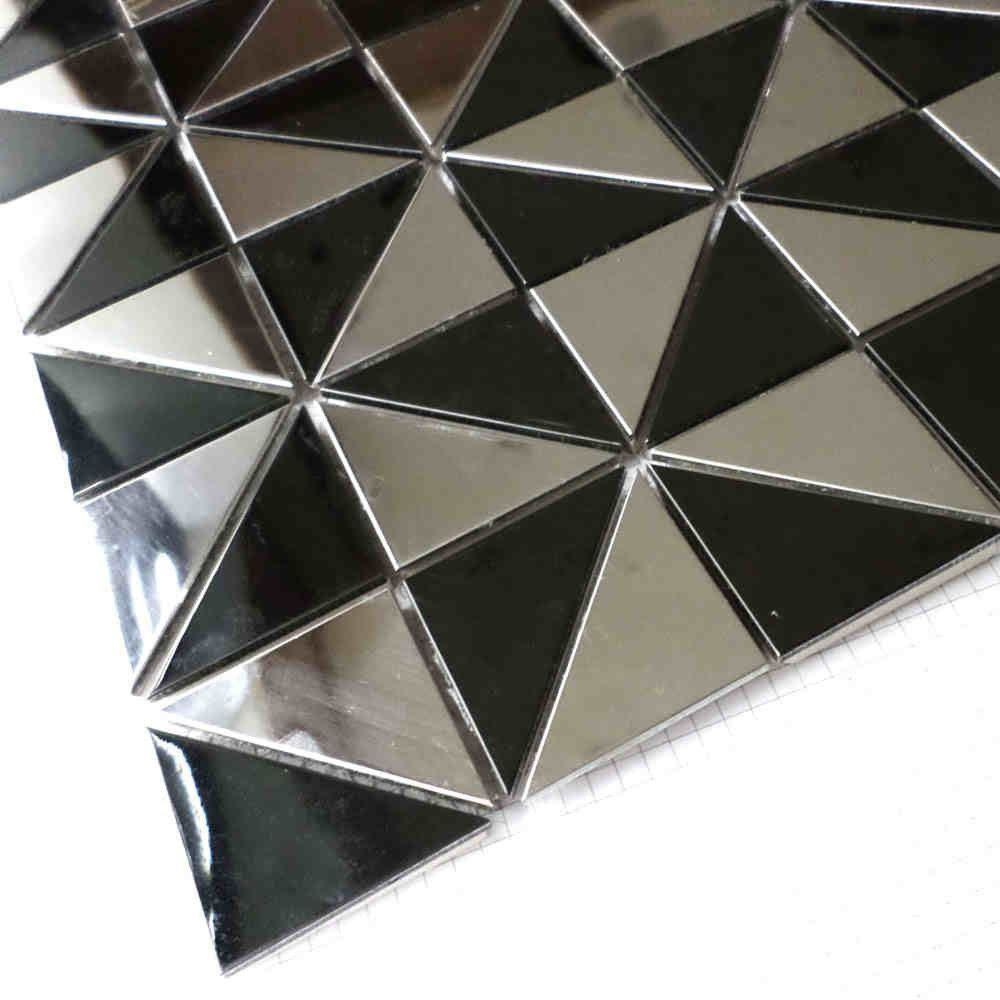 Best Triangle Stainless Steel Metal Mosaic Tiles Silver Mixed 400 x 300