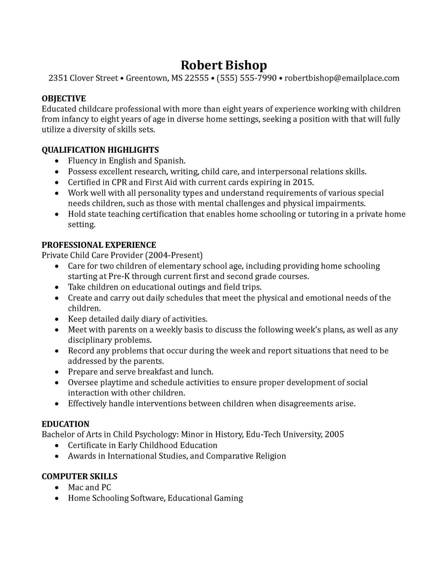 Child Care Resume Template from i.pinimg.com