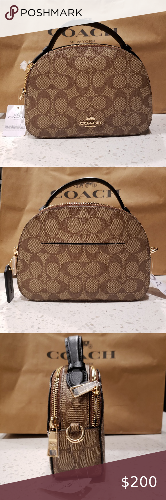 Coach Serena Satchel In Signature Canvas Signature coated canvas and smooth leat…